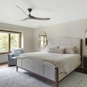 A bedroom on the main floor helps with aging in place modifications.